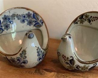 2pc El Palomar Mexico Folk Art Ceramic Birds Pair7.5x9x9in
