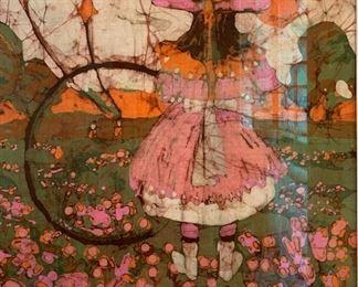*Original*  BATIK Art Girl in Garden Katalin Ehling20.5x20.5x.5inHxWxD