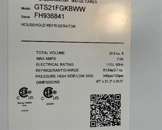 GE 20.8 Cu Ft Top Freezer Refrigerator Fridge GTS21FGKBWW66x31x37inHxWxD