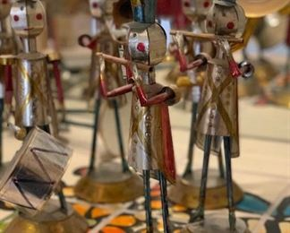 10pc Vintage Tin Soldier/Marching Band Mexican Folk Art15in H