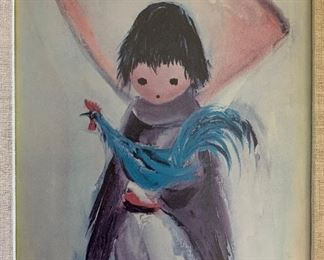 *Signed* DeGrazia Print Boy with Rooster18x15x.5inHxWxD