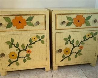 2pc 1960s Jeanne Valentine Mexican MCM Nightstands PAIR25x20x19inHxWxD