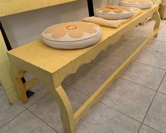 1960s Jeanne Valentine Mexican MCM Bench16.5x20x72in Long