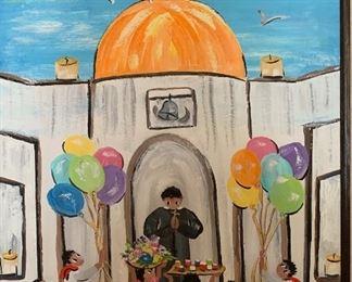 *Original* Chabela Elizabeth C. Haas Church Celebration Art Painting29x25x2inHxWxD