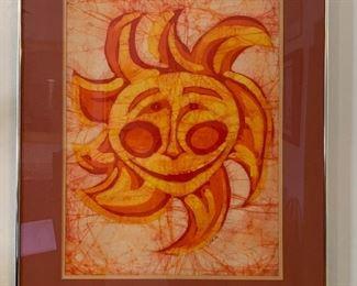 Vintage Batik Art Sun Signed  Dillon36x28x1.5inHxWxD