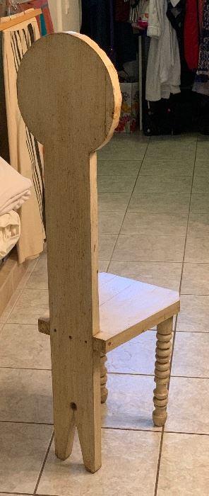 Mexican Folk Art Carved Wood Daisy Chair48x13x16inHxWxD