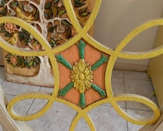 2pc Hand Painted Chairs Mexican Folk Art38x20x18inHxWxD