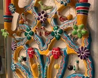 #3 Tree of Life Mexican Folk Art Candelabra FLORES FAMILY20x15x5inHxWxD