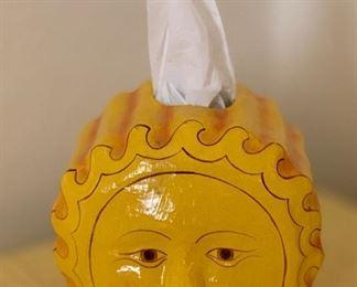 Vintage Paper Mache Sun Tissue Dispenser Mexican Folk Art