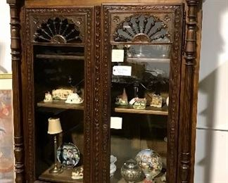 Fabulous French Brittany carved bookcase.