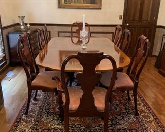 #3	Baker Double Pedistal Table w/brass claw feet on wheels w/inlay & carved legs 70-92x46x29 w/2 leaves & 8 chairs	 $1,500.00