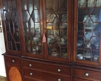 Glorious china cabinet-filled to the brim--first pic in the door -time to tart up your house for the holidays