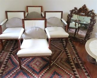 Nice selection of armchairs at this sale!  These upholstered with a modern twist sit atop a very large and beautiful Dhurrie/Kilim rug