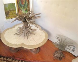 Excellent near pair of vintage French brass wheat sheath side tables and stunning trefoil travertine coffee table