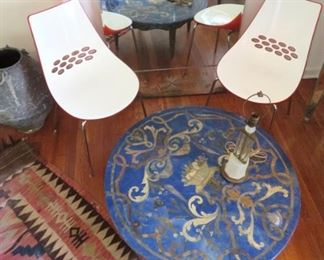 Nice pietra dura style coffee table and modernist molded plastic chairs