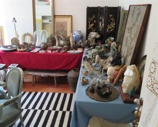 Such a fun and eclectic mix of decorative accessories, art and mirrors