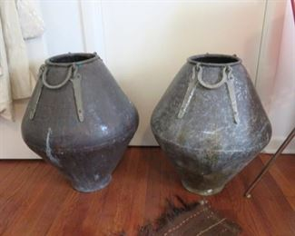 Fantastic pair of large vintage brass urns - likely Middle Eastern