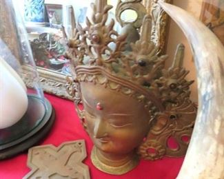 Gorgeous vintage brass Buddha bust with inlaid coral and turquoise beads