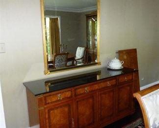 $450.00   Larger Buffet Sideboard. Lion Brass Pulls Black Granite Top and silverware drawer .                              $475.00 Gold/Black Sheraton Style mirror-40 x 55