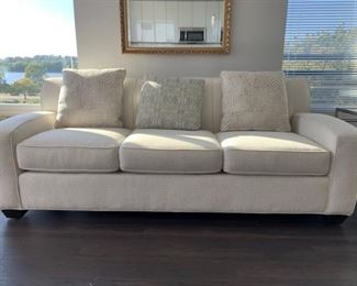 """Rowe Sofa featured in Chocolate with accent pillows 84""""L X 38""""D X33""""H  (Picture 1 of 3). Sale Price $400"""