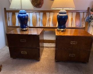 Pair of Henredon nightstands with brass trim , cool looking mid century headboard , headboard 275.00, nightstand 150.00 each