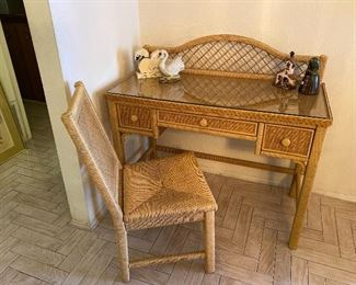 Fabulous wicker desk, glass top and chair by Henry Link. $245.00