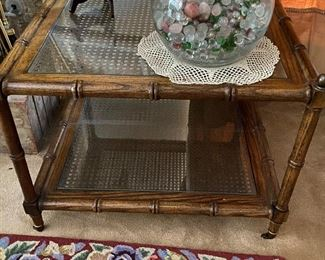 Davis Furniture glass and wicker square  $270.00