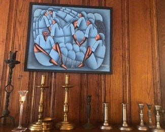 Acrylic - framed, and candlesticks:  iron, brass, pewter and crystal
