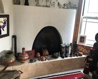 Wool area rug, southwest pottery and ironwork,  and lots more!