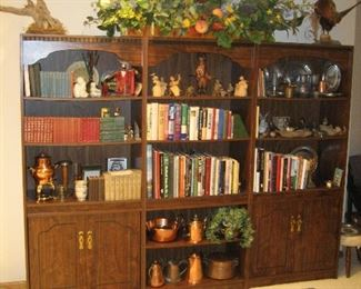 Trio of bookcases, copper, pewter, taxidermy, and books