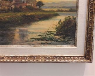 Close up of artist's signature on oil painting