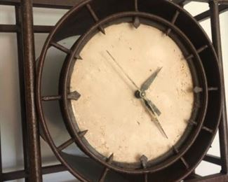 metal clock with shelves