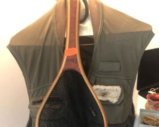 Fly fishing vest and Orvis fishing net