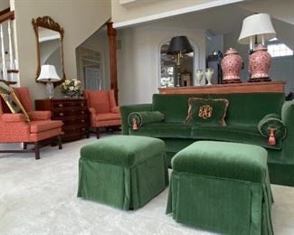 CUSTOM UPHOLSTERED SOFAS, OTTOMANS  AND CHAIRS - BEHIND GREEN SOFA A PAIR OF ANTIQUE CHINESE PORCELAIN TEMPLE JARS