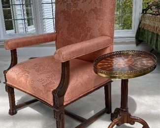PAIR OF THESE ARM CHAIRS AND DRINKS TABLES