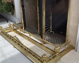 BRASS FIREPLACE FENDERS AND SCREENS