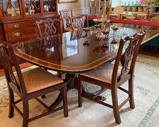 BANDED DOUBLE PEDESTAL DINING TABLE WITH EXTRA LEAVES