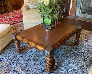 Book Motif Leather Top Coffee Table