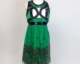 Max Studio Special Edition Beaded Silk Butterfly Dress NWT.