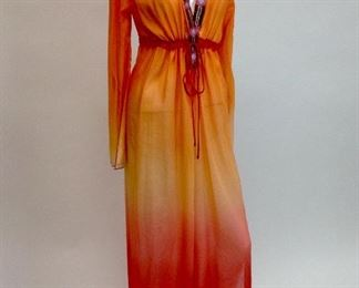 Halé Bob Beaded Deep V Cabana Dress Orange NWT.