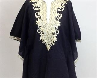 Taj by Sabrina Crippa Embroidered Tunic Cream on Black.