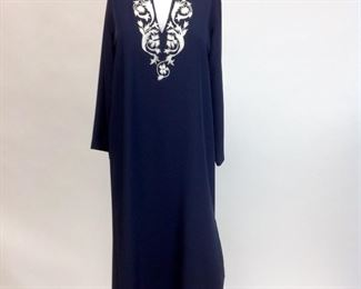 Natori for Saks Fifth Avenue Embroidered White on Navy Long Tunic Dress.