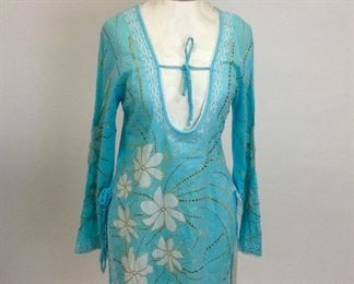 Letarte Handmade Embroidered with Gold Blue Tunic.