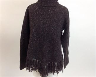Saks Fifth Avenue Wool / Cashmere Tweed Knit Long Sleeve Turtleneck with Fringe.