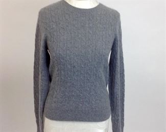 White & Warren Gray 100% Cashmere Cable Knit Sweater.