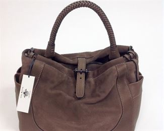 Van Astyn of Switzerland Leather Taupe Shoulder Bag.