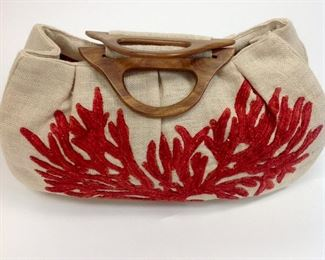 Moyna Natural Wood Handle Bag with Satin Lining and Embroidered Coral Design.