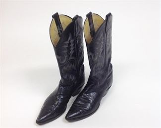 """Panhandle Slim"" Black Leather Tooled Western Boots."