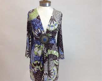 Sky 100% Silk Print Tunic Dress with Medallion Detail