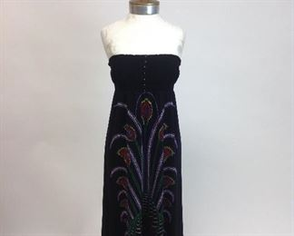 Funky People Strapless Black Dress with Peacock Design